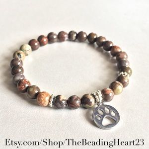 🐾🐶Ocean Jasper Paw Print Bracelet 🐾🐶